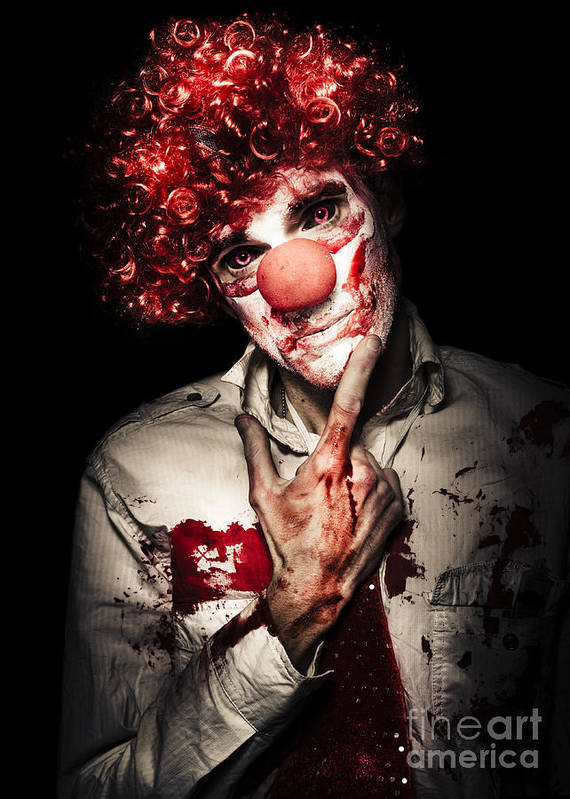 Adult Poster featuring the photograph Evil Blood Stained Clown Contemplating Homicide by Jorgo Photography - Wall Art Gallery