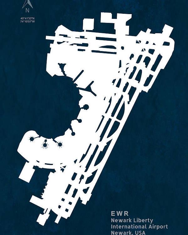 Silhouette Poster featuring the digital art Ewr Newark Liberty International Airport In Newark Usa Runway Si by Jurq Studio