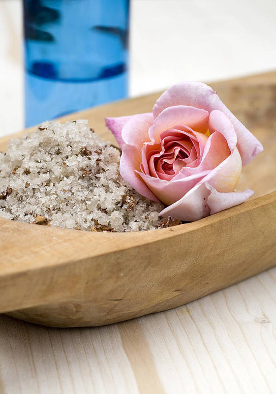 Spa Poster featuring the photograph Exfoliating Body Scrub From Sea Salt And Rose Petals by Frank Tschakert