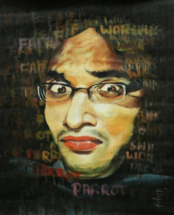 Poster featuring the painting Expression by Kuldeep Kumar kardam