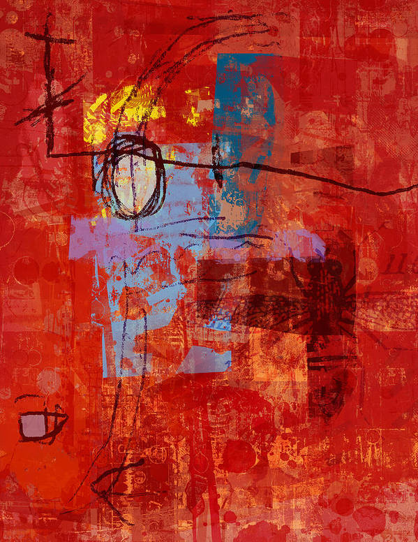 Abstract Poster featuring the digital art F 018 by Piotr Storoniak