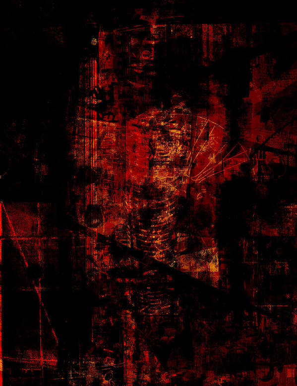 Abstract Poster featuring the digital art f 024 A by Piotr Storoniak