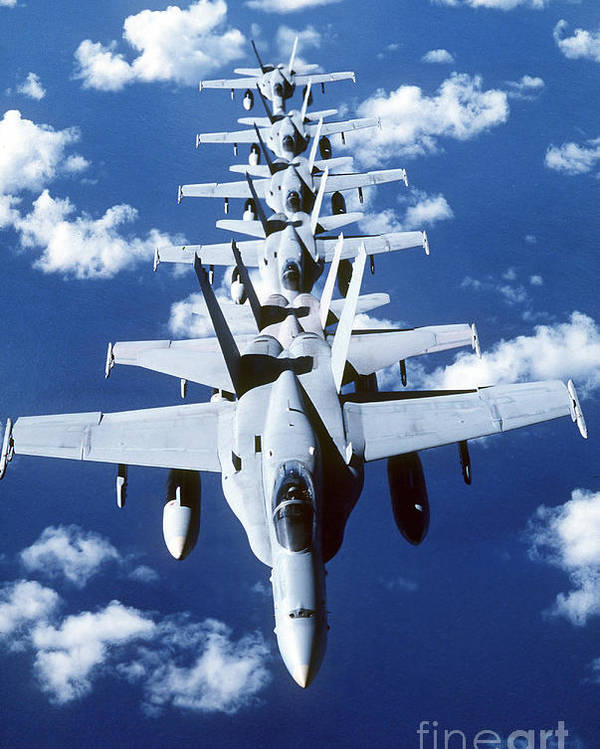 Vertical Poster featuring the photograph Fa-18c Hornet Aircraft Fly In Formation by Stocktrek Images