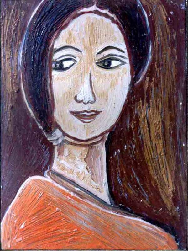 Paintings In Acrylics And Oils On --- Indian Saints Poster featuring the painting Face 9 by Anand Swaroop Manchiraju