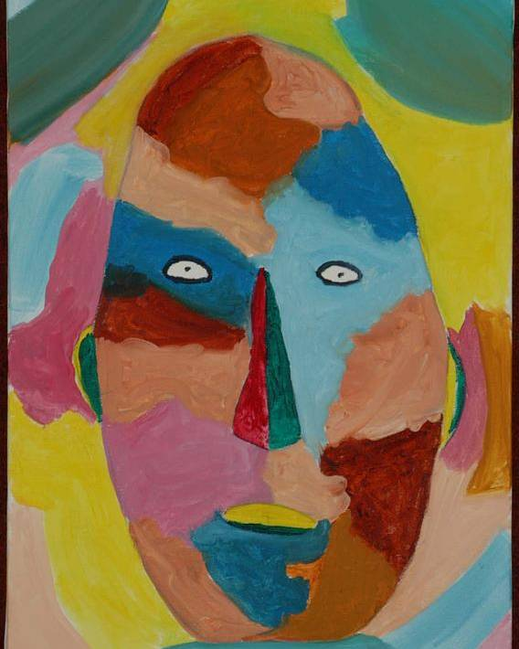 Mask Poster featuring the painting Face In Limbo by Harris Gulko