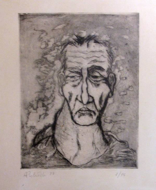 Old Man Portrait Poster featuring the drawing Face Marked By Fatigue by Alfonso Robustelli