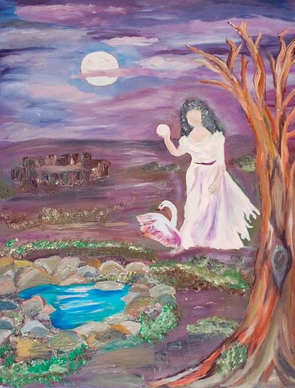 Woman Poster featuring the painting Faceless Wishing Well by Mikki Alhart
