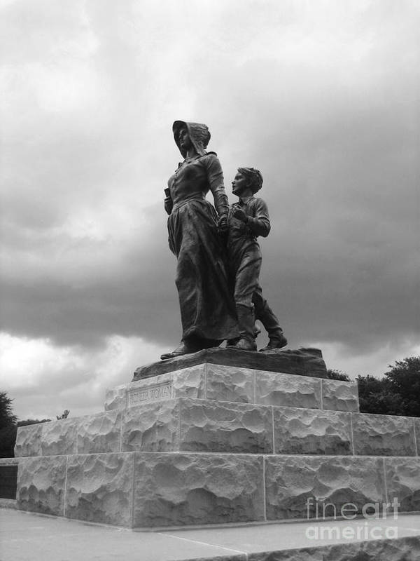 Pioneer Woman Statue Poster featuring the photograph Facing The Storm Pioneer Woman Statue Oklahoma Icon  by Ann Powell