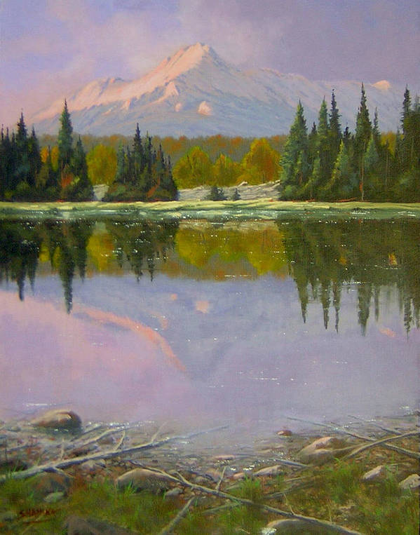 Landscape Poster featuring the painting Fading Light - Peaceful Moment by Kenneth Shanika