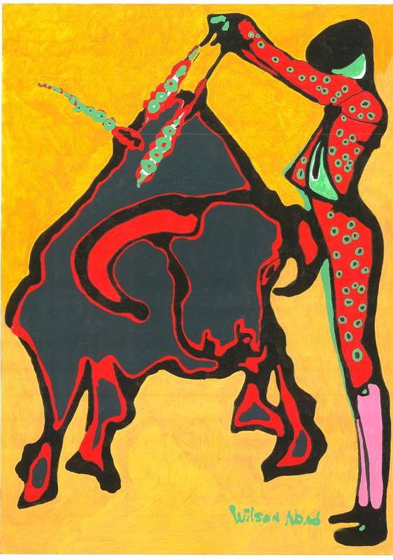 Toros Poster featuring the painting Faena Taurina by Wilson Abad