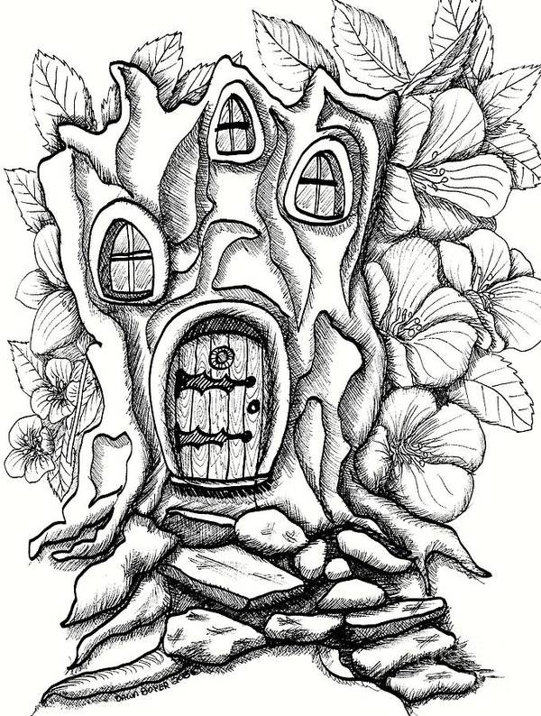 Poster featuring the drawing Fairy House Stump And Hibiscus by Dawn Boyer