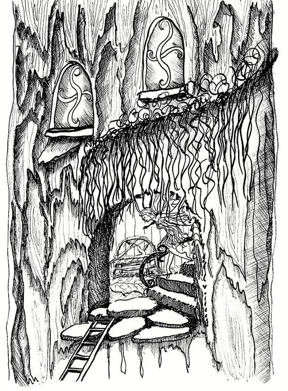 #dawndboyer Poster featuring the drawing Fairy On Stairs Tree Fairy Home by Dawn Boyer
