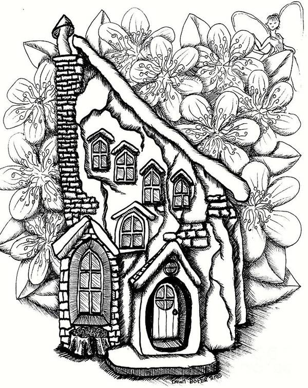 #dawndboyer Poster featuring the drawing Fairy Stucco House With Flowers by Dawn Boyer