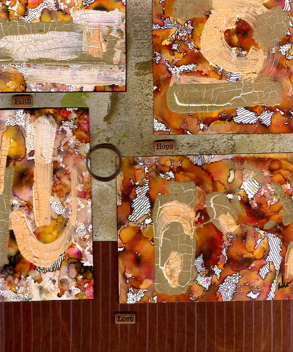 Wood Poster featuring the mixed media Faith Hope Love by Angela L Walker