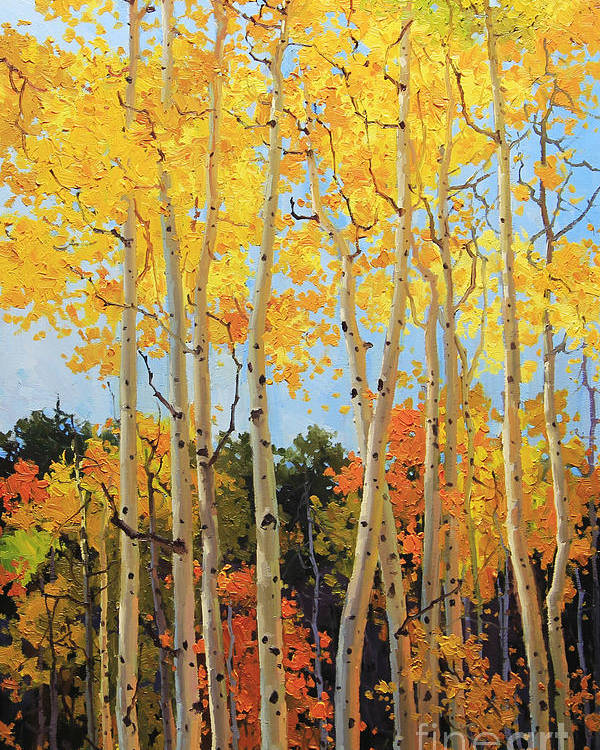 Nature Poster featuring the painting Fall Aspen Santa Fe by Gary Kim