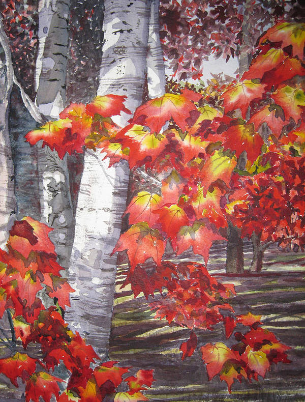 Landscape Poster featuring the painting Fall Fantasy by Shirley Braithwaite Hunt