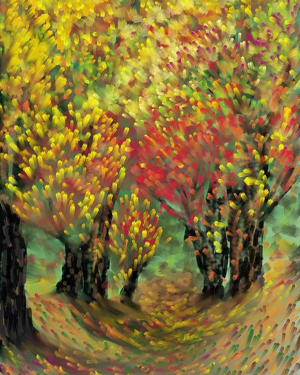 Landscape Poster featuring the painting Fall Impression by Harry Dusenberg