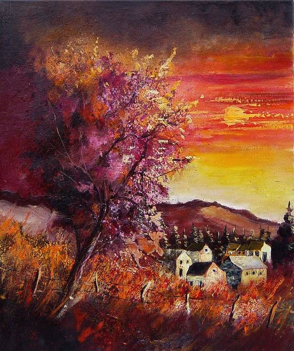 Autumn Poster featuring the painting Fall in Villers by Pol Ledent