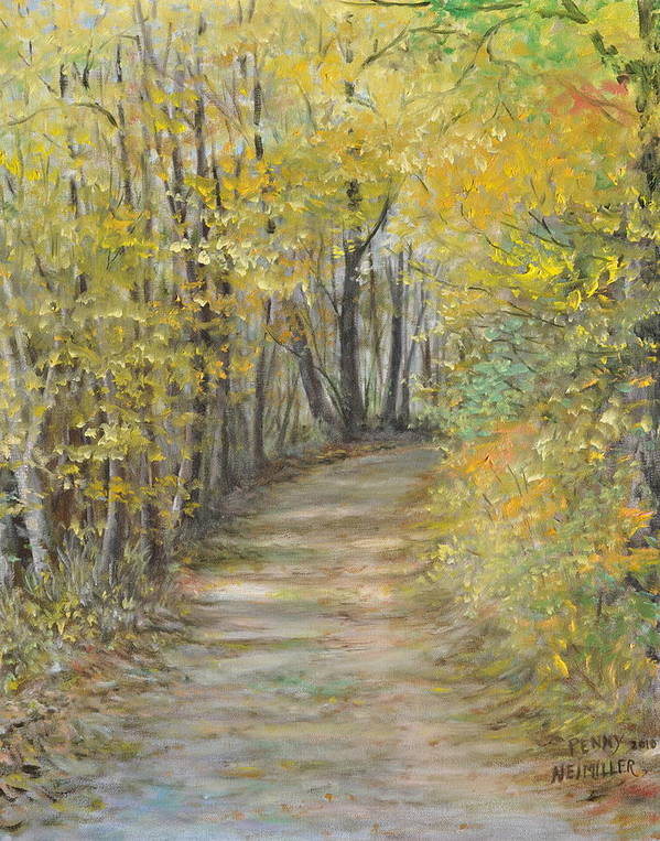 Fall Scene Painting For Sale Poster featuring the painting Fall Lane by Penny Neimiller