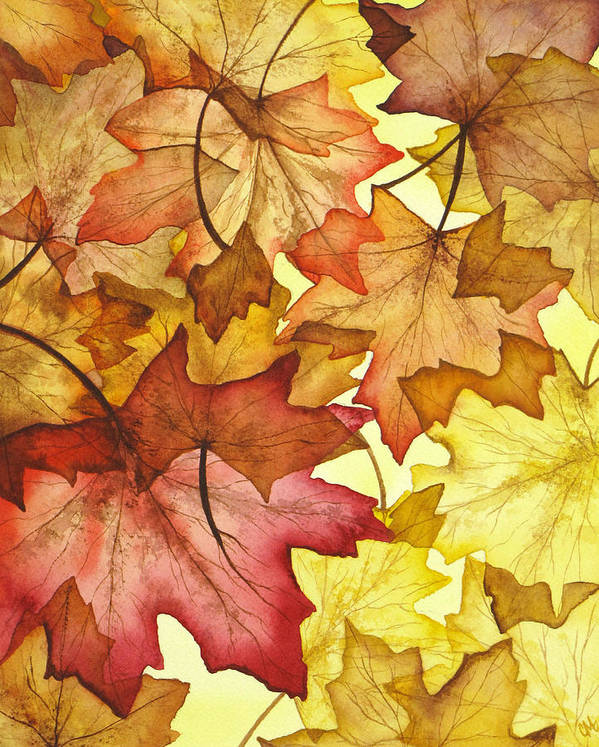 Fall Poster featuring the painting Fall Maple Leaves by Christina Meeusen