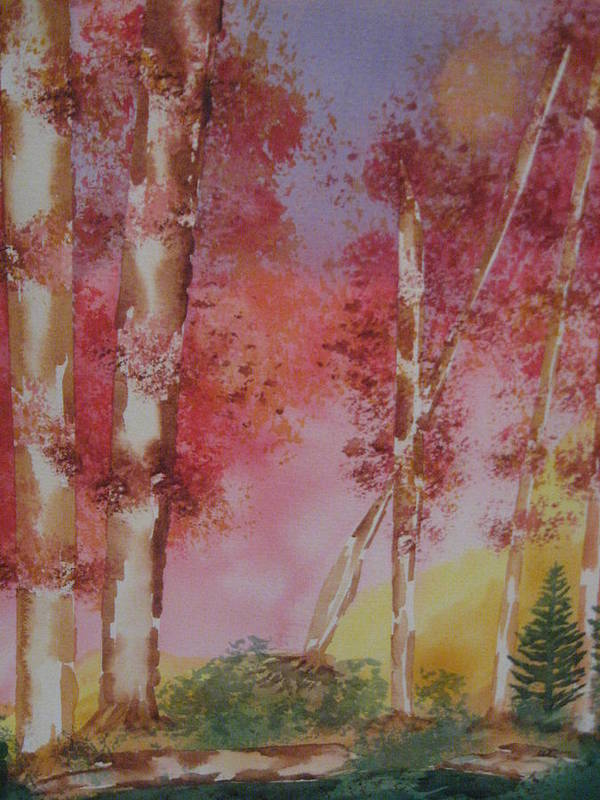 Landscape Fall Trees Watercolor Poster featuring the painting Fall Sunshine by Warren Thompson