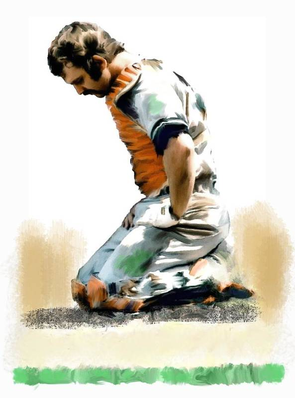 Thurman Munson Paintings Poster featuring the painting Fallen Captain Thurman Munson by Iconic Images Art Gallery David Pucciarelli