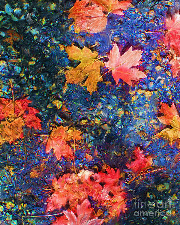 Fall Poster featuring the mixed media Falling Blue Leave by Marilyn Sholin
