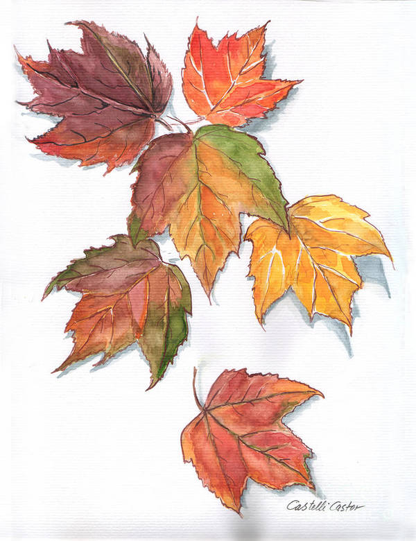 Leaves Poster featuring the painting Falling Leaves by JoAnne Castelli-Castor