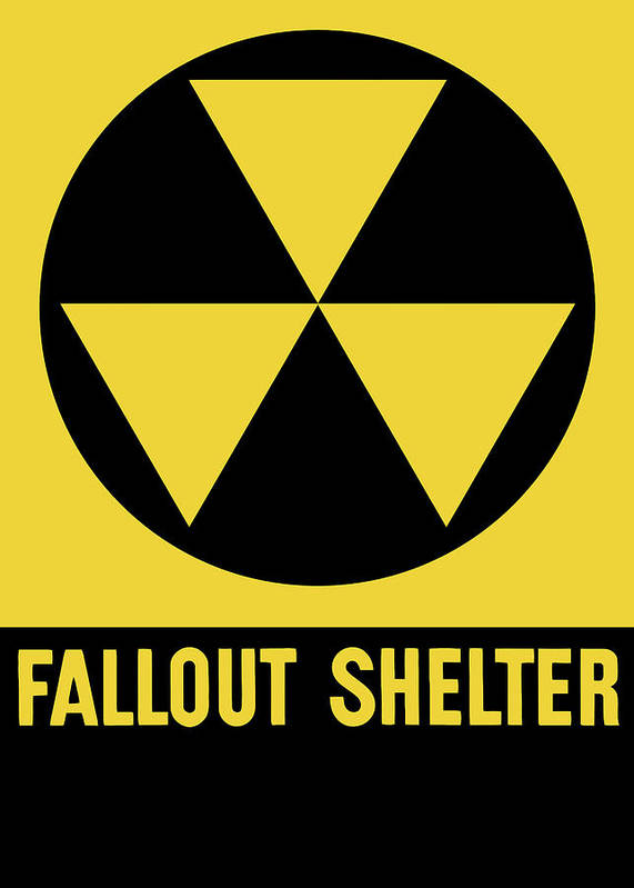 Fallout Shelter Poster featuring the mixed media Fallout Shelter Sign by War Is Hell Store