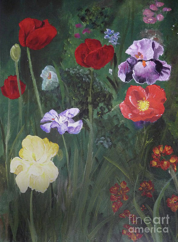 Flowers Poster featuring the painting Family Flowers by Michael King