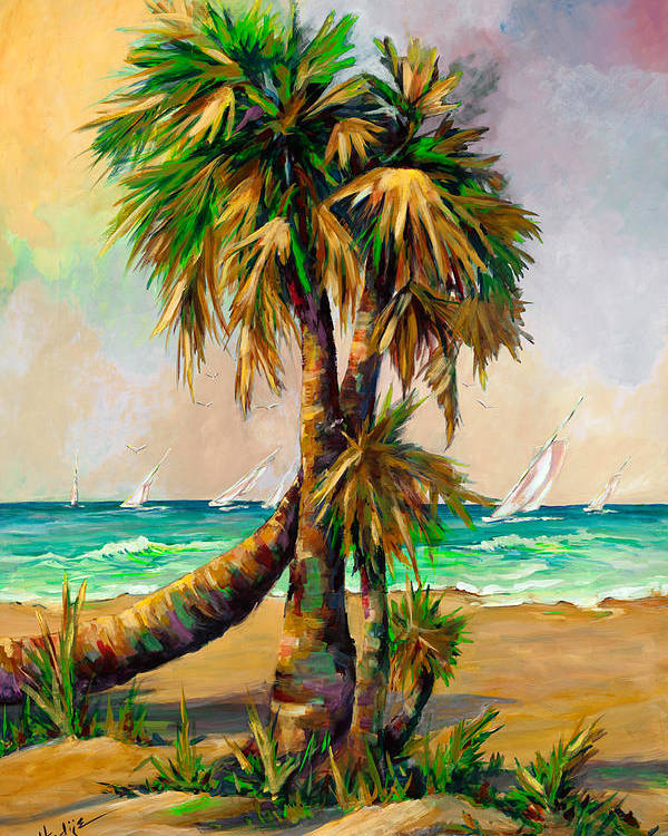 Palms Poster featuring the painting Family Of Palm Trees With Sail Boats by Mary DuCharme
