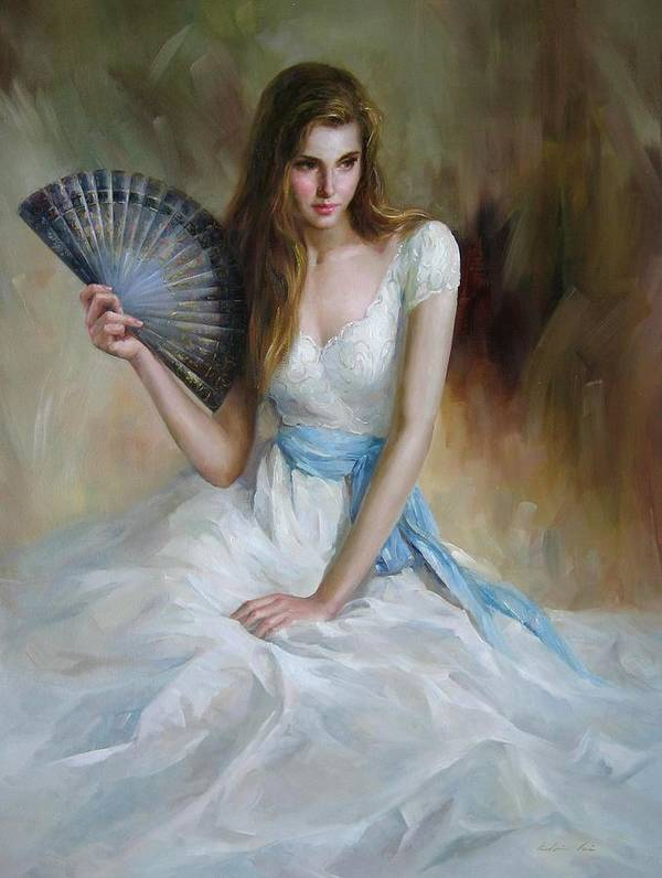 Figurative Painting Poster featuring the painting Fan by Kelvin Lei