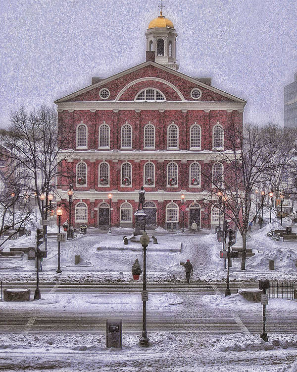 Faneuil Hall Poster featuring the photograph Faneuil Hall Snow by Joann Vitali