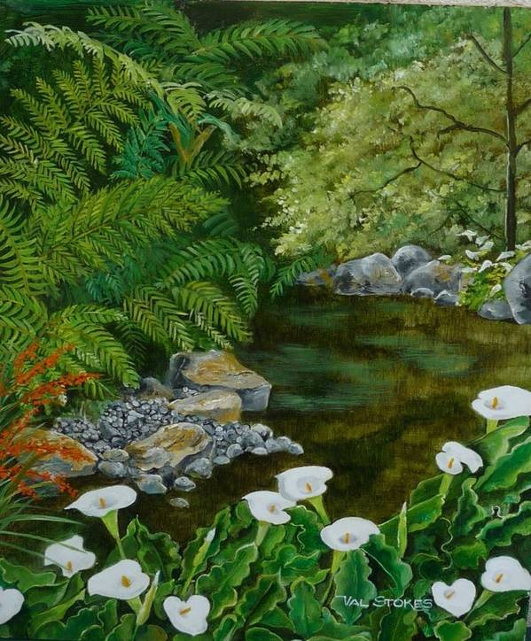 Canna Lillies Poster featuring the painting Fantastic Canna Lillies by Val Stokes