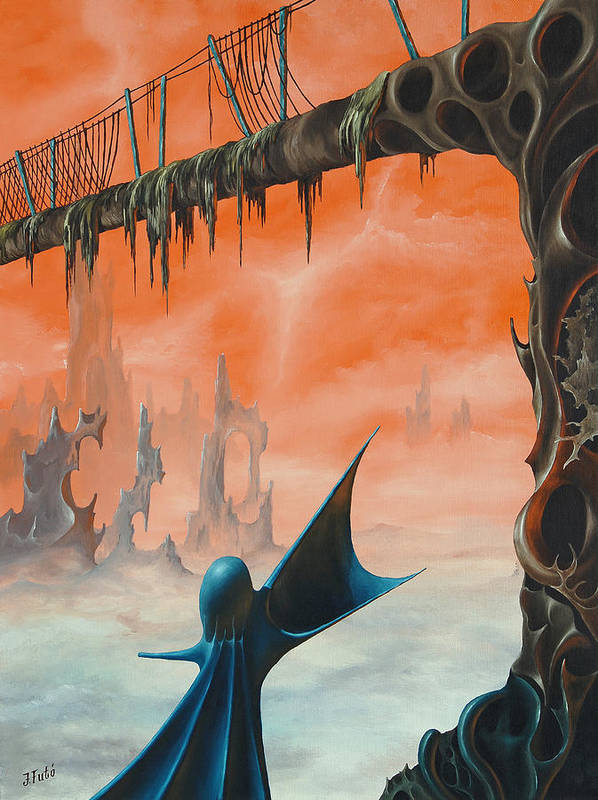 Fantasy Poster featuring the painting Fantasy 1 by Jeno Futo