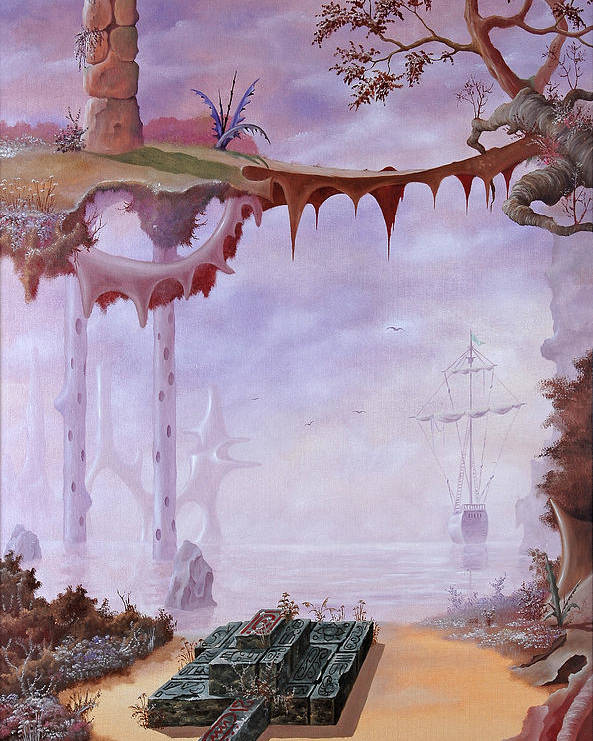 Fantasy Poster featuring the painting Fantasy 3 by Jeno Futo
