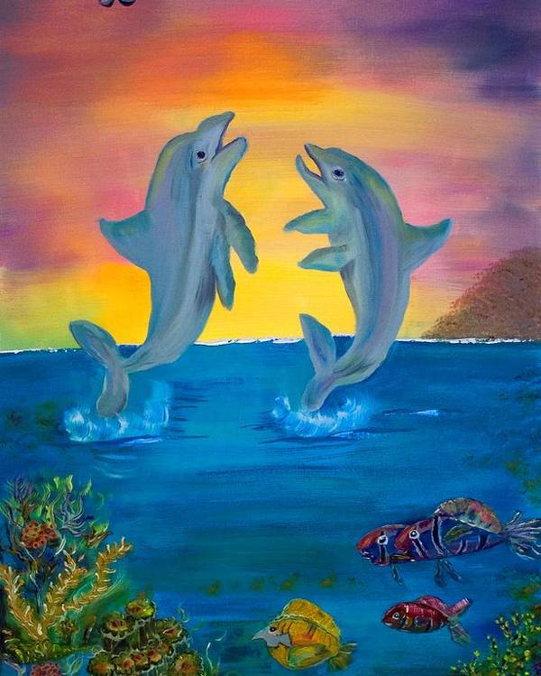 Original Poster featuring the painting Fantasy Dolphins by Mikki Alhart