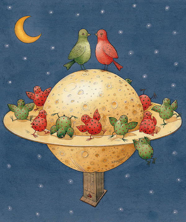 Planet Space Cosmos Love Birds Children Green Red Poster featuring the painting Far Planet by Kestutis Kasparavicius