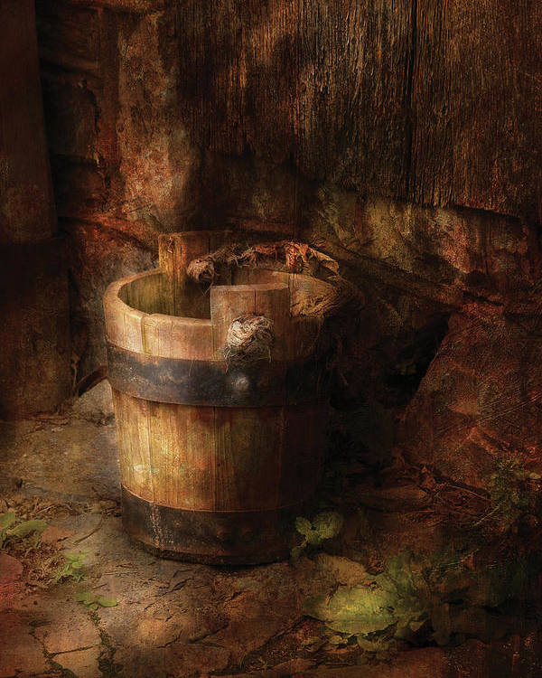 Savad Poster featuring the photograph Farm - Pail - An Old Pail by Mike Savad