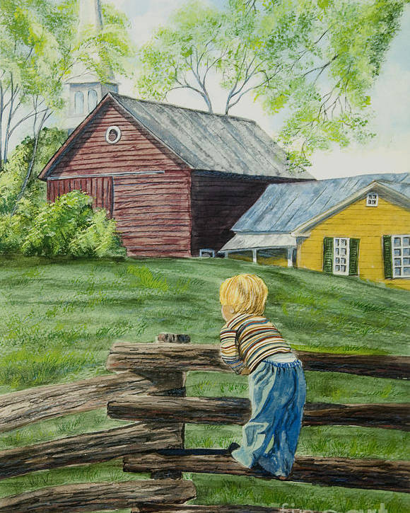 Country Kids Art Poster featuring the painting Farm Boy by Charlotte Blanchard