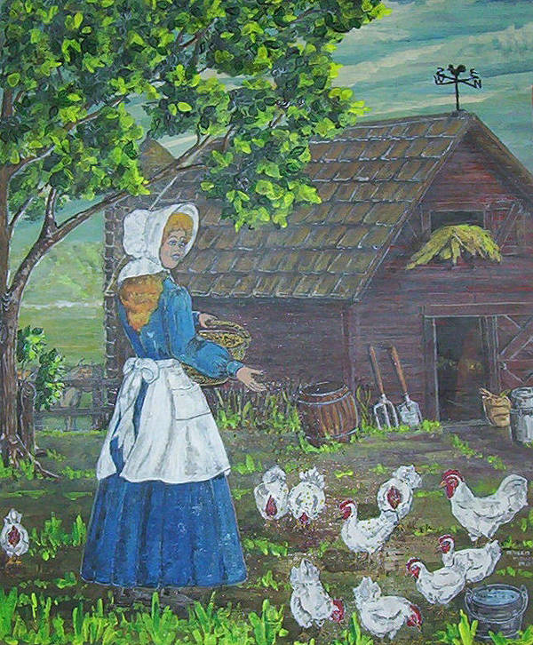 Barn Poster featuring the painting Farm Work I by Phyllis Mae Richardson Fisher