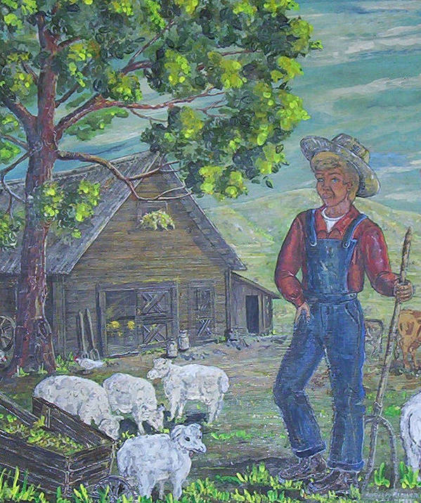 Barn Poster featuring the painting Farm Work II by Phyllis Mae Richardson Fisher