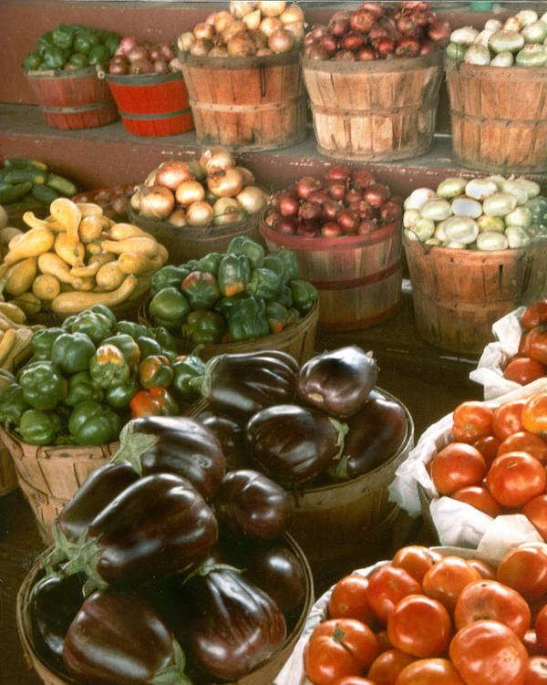 Vegetables Poster featuring the pyrography Farmers Market by Myrna Salaun