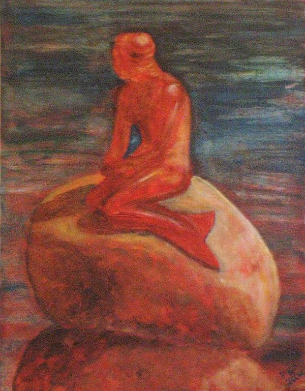 Mermaid Poster featuring the painting Farseeing Mermaid by Patricia Ortman