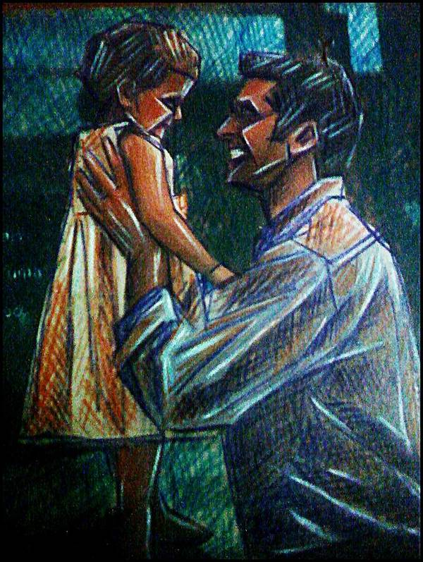Father And Daughter Poster featuring the mixed media Father And Daughter by Paulo Zerbato