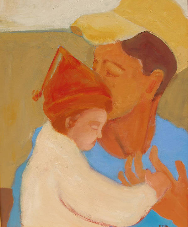 Daughter Poster featuring the painting Father And Daughter by Renee Kahn
