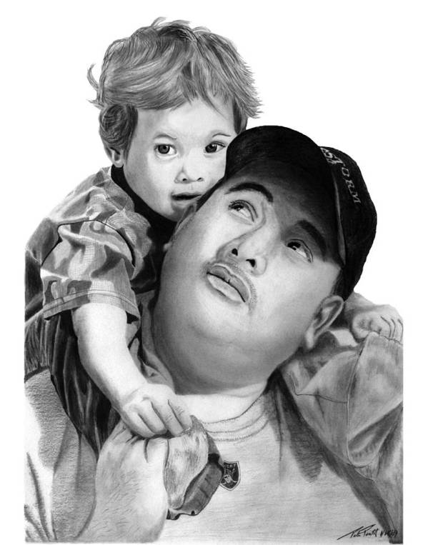 Father And Son Poster featuring the drawing Father And Son by Peter Piatt