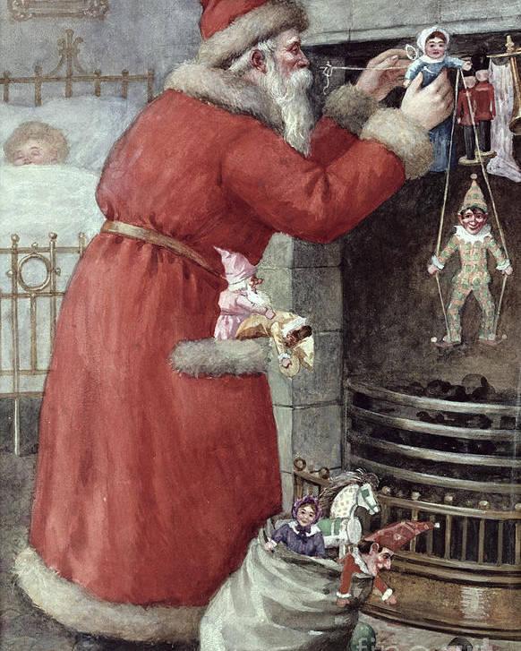 Father Poster featuring the painting Father Christmas by Karl Roger