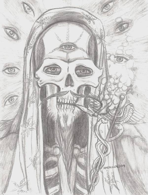 Skeleton.eyes Poster featuring the drawing Father Health And Wisdom by Americo Salazar