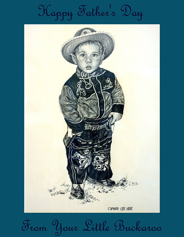 Cowboy Poster featuring the drawing Father's Day Card - Little Buckaroo by Carmen Del Valle